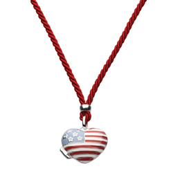 Happy Fourth of July 2016 - Silver Stars and Stripes American Flag Heart Locket Necklace - Sterling Silver Rhodium Girls Heart Locket Necklace - 30