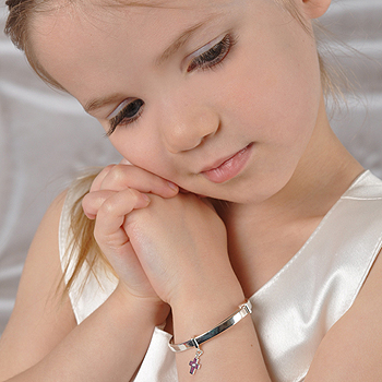 "A First Communion Favorite - Beautiful Sterling Silver Rhodium Diamond Cross First Communion Bangle Bracelet for Girls - Size 5.25"" expandable to 6.0"" - Baby to Teen - BEST SELLER"