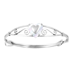 Keepsake Adjustable Bracelets - High Polished Sterling Silver Rhodium Genuine Mother of Pearl Adjustable Heart Bangle Bracelet - Baby, Toddler, Grade School Girl (1 - 8 years)/