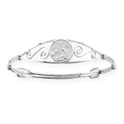 Keepsake Adjustable Bracelets - High Polished Sterling Silver Rhodium Guardian Angel Adjustable Bangle Bracelet - Baby, Toddler, Grade School Girl (1 - 8 years)/