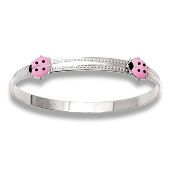 Keepsake Adjustable Bracelets - High Polished Sterling Silver Rhodium Pink Ladybugs Adjustable Bangle Bracelet - One bracelet fits baby, toddler, and child up to 5 years