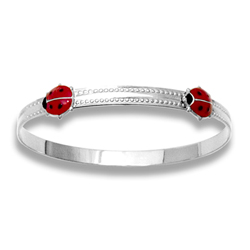 Keepsake Adjustable Bracelets - High Polished Sterling Silver Rhodium Red Ladybugs Adjustable Bangle Bracelet - One bracelet fits baby, toddler, and child up to 5 years/