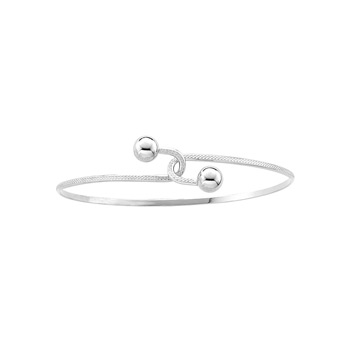 "Baby Toddler Bypass Bracelet - High Polished Sterling Silver Rhodium - Size 4.5"" (Baby - 2 years)"