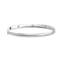 Fine Toddler Bracelets - High Polished Sterling Silver Rhodium Baby, Toddler Bangle Bracelet with Three Genuine Diamonds - Size 5.25