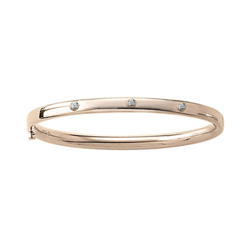 Fine Toddler Bracelets - 14K Yellow Gold Baby, Toddler Bangle Bracelet with Three Genuine Diamonds - Size 5.25