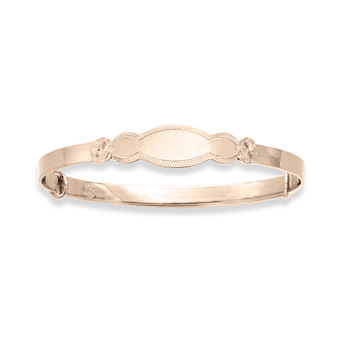 Keepsake Adjustable Bracelets - 14K Yellow Gold Adjustable Bangle Bracelet - Engravable on front - One bracelet fits baby, toddler, and child up to 7 years - BEST SELLER