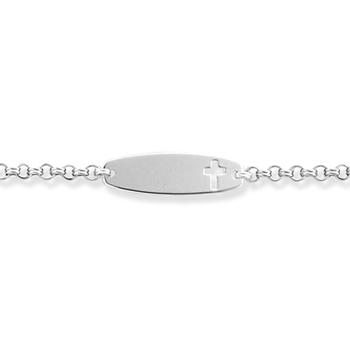 "Engravable Identification Bracelets for Girls and Boys - High Polished Sterling Silver Rhodium Cross ID Bracelet - Engravable on front - Size 6.25"" - BEST SELLER"