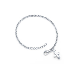 Girls Diamond Cross Charm Bracelet - Sterling Silver Rhodium - Size 5