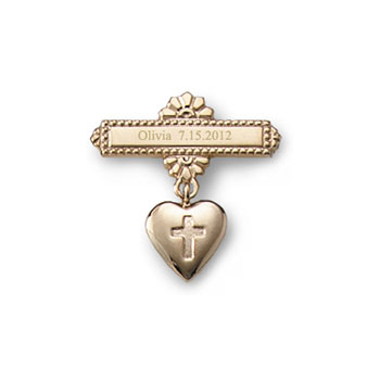Heart with Cross -14K Yellow Gold Religious Christening Pin - Brooch Jewelry for Baby - BEST SELLER
