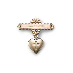 Heart with Cross -14K Yellow Gold Religious Christening Pin - Brooch Jewelry for Baby - BEST SELLER/