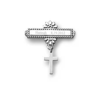 Cross - 14K White Gold Religious Christening Pin - Brooch Jewelry for Baby
