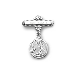 Guardian Angel -14K White Gold Religious Christening Pin - Brooch Jewelry for Baby - BEST SELLER/