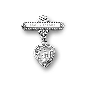 Heart Miraculous Medal -14K White Gold Religious Christening Pin - Brooch Jewelry for Baby