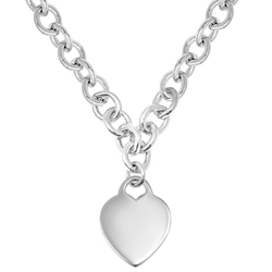 Exquisite Heirloom Heart Chain Necklace to Love - Sterling Silver Rhodium Heart Pendant - Engravable on front and back - 16