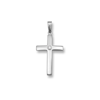 "Heirloom Diamond Cross - 14K White Gold Cross with 4mm Genuine Diamond - 14K White Gold 18"" Chain Included"