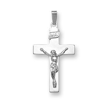 "Boys Heirloom Crucifix - 14K White Gold Crucifix Cross  - 14K White Gold 20"" Chain Included"