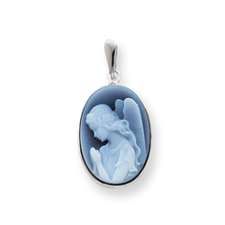 Agate Cameo Praying Angel Pendant in 14K White Gold - Add a chain to create the perfect necklace/