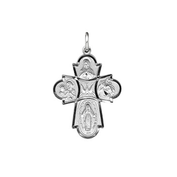 "Confirmation Gifts for Boys - Teen Boys Large Sterling Silver Rhodium 4-Way Medal - Includes 24"" Stainless (White) Chain"