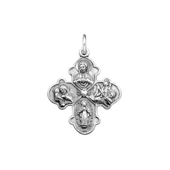 "Confirmation Gifts for Boys - Teen Boys Large Sterling Silver Rhodium 4-Way Medal - Includes 24"" Stainless (White) Chain - BEST SELLER"