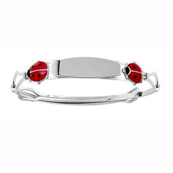 Red Ladybug - Keepsake Adjustable Bracelets - High Polished Sterling Silver Rhodium Adjustable Bangle Bracelet - Engravable on front - One bracelet fits baby, toddler, and child up to 8 years
