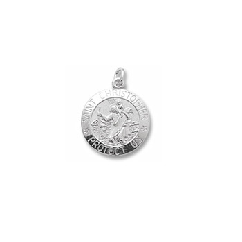 Rembrandt Sterling Silver St. Christopher (Patron Saint of Travel) Charm (Large) – Engravable on back - Add to a bracelet or necklace