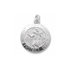 Rembrandt Sterling Silver St. Christopher (Patron Saint of Travel) Charm (Large) – Engravable on back - Add to a bracelet or necklace/