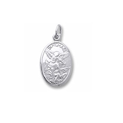 Rembrandt Sterling Silver St. Michael (Patron Saint of Ambulance Drivers, E.M.T.'s, and Police Officers) Charm – Engravable on back - Add to a bracelet or necklace/
