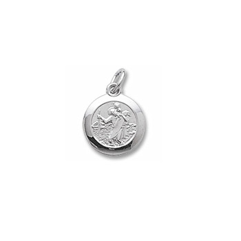 Rembrandt Sterling Silver St. Christopher (Patron Saint of Travel) Charm (Small) – Engravable on back - Add to a bracelet or necklace