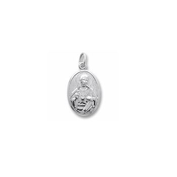 Rembrandt Sterling Silver Sacred Heart (Symbol of Devine Love) Charm – Engravable on back - Add to a bracelet or necklace
