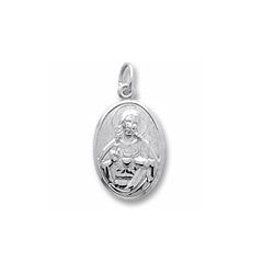 Rembrandt Sterling Silver Sacred Heart (Symbol of Devine Love) Charm – Engravable on back - Add to a bracelet or necklace/