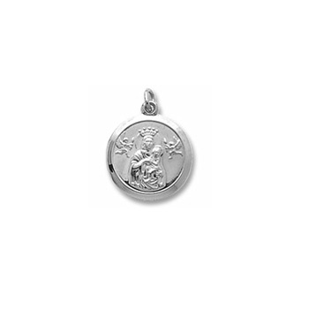 Rembrandt Sterling Silver Madonna and Child Charm (Large) – Engravable on back - Add to a bracelet or necklace