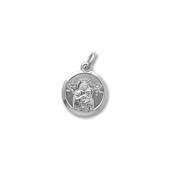 Rembrandt Sterling Silver Madonna and Child Charm (Small) – Engravable on back - Add to a bracelet or necklace - BEST SELLER