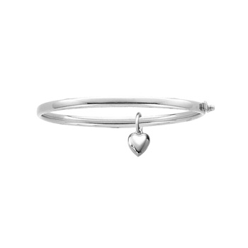 Fine Toddler Bracelets - 14K White Gold Baby, Toddler Bangle Bracelet with Heart Charm - Size 5.25""