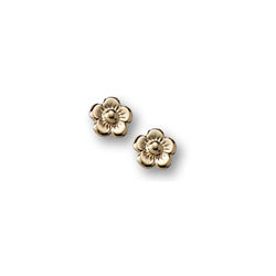 Gold Flower Earrings for Girls - 14K Yellow Gold Screw Back Earrings for Baby, Toddler, Child/