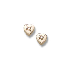 Girls Adorable Heart Diamond Earrings - .04 ct. tw. Diamond 14K Yellow Gold Screw Back Diamond Heart Earrings for Baby, Toddler, and Child - Safety threaded screw back post/