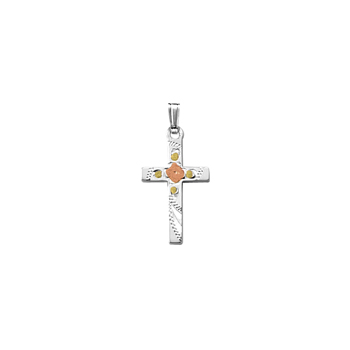 "Confirmation Cross Necklaces for Girls - Sterling Silver Rhodium Tri-Color Cross Flower Pendant - Includes 18"" Sterling Silver Rhodium Chain"