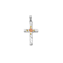 Confirmation Cross Necklaces for Girls - Sterling Silver Rhodium Tri-Color Cross Flower Pendant - Includes 18