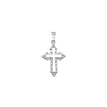"Elegant Cross Necklaces for Girls - Sterling Silver Rhodium Cross Pendant - Includes 18"" Sterling Silver Rhodium Chain"