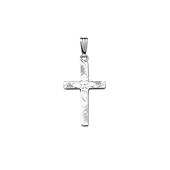 "Beautiful Flower Cross Necklaces for Girls - Sterling Silver Rhodium Cross Pendant - Includes 18"" Sterling Silver Rhodium Chain"