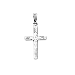 Beautiful Flower Cross Necklaces for Girls - Sterling Silver Rhodium Cross Pendant - Includes 18