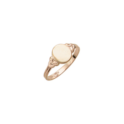 Because I Love You - Oval 10K Yellow Gold Girls Engravable Signet Ring - Size 4 Child Ring - BEST SELLER/