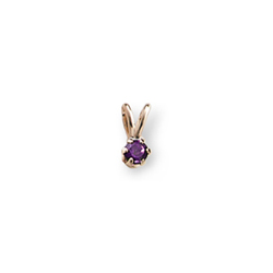 Little Girls Birthstone Necklaces - February Birthstone - 14K Yellow Gold Genuine Amethyst Gemstone 3mm - Includes a 15