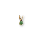 Little Girls Birthstone Necklaces - May Birthstone - 14K Yellow Gold Genuine Emerald Gemstone 3mm - Includes a 15