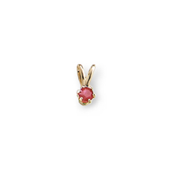 Little Girls Birthstone Necklaces - July Birthstone - 14K Yellow Gold Genuine Ruby Gemstone 3mm - Includes a 15