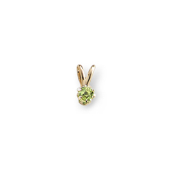 Little Girls Birthstone Necklaces - August Peridot - 14K Yellow Gold Genuine Peridot Gemstone 3mm - Includes a 15