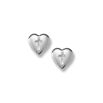 Silver Heart Cross Earrings for Girls - Sterling Silver Rhodium Screw Back Earrings for Baby, Toddler, Child - BEST SELLER