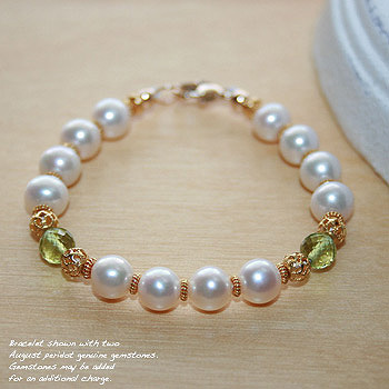 Exquisite Josephine™ by My First Pearls® - 22K yellow gold – Grow-With-Me® designer original freshwater cultured pearl bracelet – Personalize with gemstones & charm