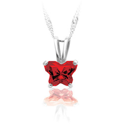 Teeny Tiny Butterfly Necklace for Girls by Bfly® - January Garnet Cubic Zirconia (CZ) Birthstone - Sterling Silver Rhodium Child Necklace - Includes a 14