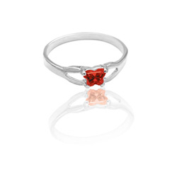 Teeny Tiny Butterfly Ring for Girls by Bfly® - January Garnet CZ Birthstone - Sterling Silver Rhodium Child Ring - Size 3/