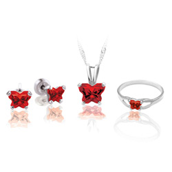 Teeny Tiny Butterfly Necklace, Earring, and Size 4 Ring Set for Girls by Bfly® - January Garnet Cubic Zirconia (CZ) Birthstone - Sterling Silver Rhodium Girls Jewelry - 3 Item Set - Save $12.50/